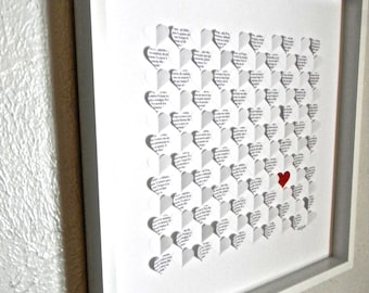 Wedding guest book alternative. Large size 3D paper hearts lovely bridal shower gift. modern guestbook for the bride and groom great gift