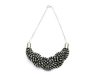 Braided Necklace Black And Gray, Textile Statement Rope Necklace, Gift For Her