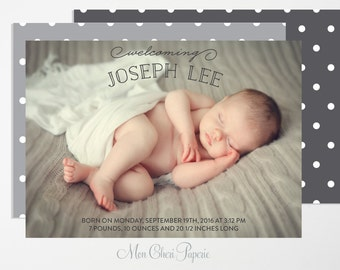 Birth Announcement  - Baby Boy or Girl Birth Announcement - Polka Dot -Digital or Printed