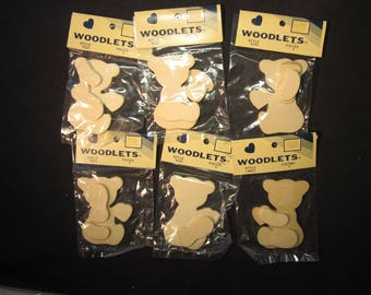 6 wood cutout bears with arm and leg and heart, for painting, 3""