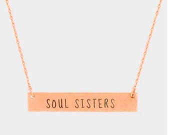 Soul sisters steinless bar pendant necklace