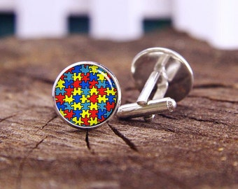 autism cufflinks, Autism Heart cufflinks, autism tie bars, autism tie tacks, custom wedding cufflinks, groom cufflinks, tie bars, or set