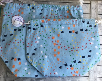 Colorful Pawprints Knitting Project Bag - Toad Hollow bag, Crochet Project bag, drawstring bag, perfect gift for him or her,gift for knitter