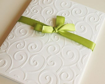 Swirls White Embossed Greeting Cards - Note Card Set of 5 - A2 Size