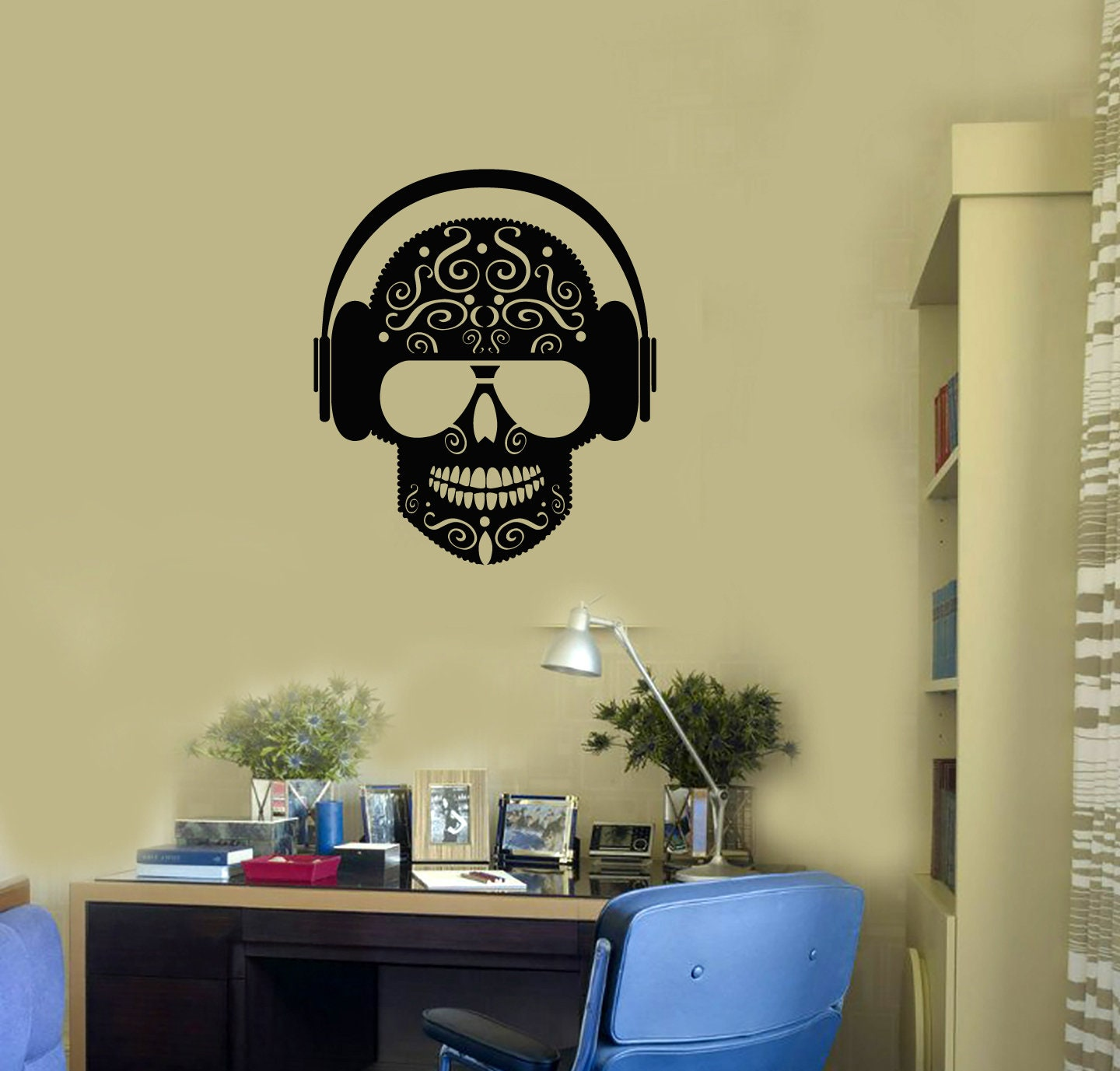 Sugar Skull Vinyl Wall Decal Headphones Glasses Music Room Art