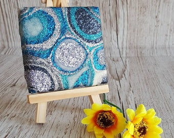 Blue, Silver and TealGlitter Canvas Art Original Abstract Artwork no. 40, mini canvas and easel
