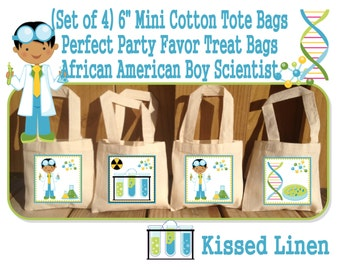 African American Science Party Scientist Birthday Party Treat Favor Gift Bags Mini Cotton Totes Children Kids Girls Boys - Sets of 4 or 8