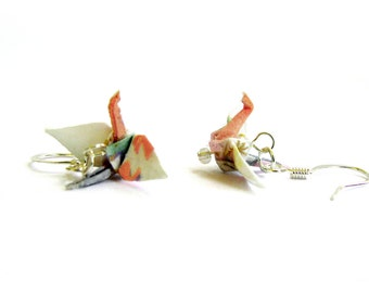 Tiny Origami Crane Earrings White and Peach 3/4""