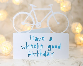 Have a wheelie good birthday.  bike birthday,  bicycle birthday, bike adventure card, cyclist card, cyclist birthday, card for cyclist