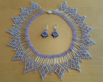 Lavender and Silver Princess Necklace and Earring Set with Swarovski Crystals