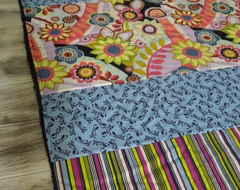 Plush fleece Baby Blanket/Modern Quilt - girl -retro flowers and stripes