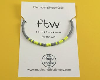 For The Win | FTW | Morse code bracelet | Motivational present | Good luck present | Good luck gift | Sports fan present | Gift for gamer