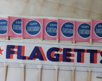 One Dozen, Vintage Cake/Cupcake Decoration Flags Packet, Happy Birthday