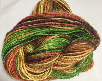 "Handspun Hand Painted Wool Yarn - DK weight - 231 yards, 4 ounces - ""Kaleidoscope"" (striped)"