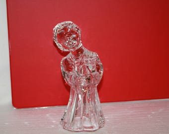 G8 Sweet Gentle Christmas Caroler Lead Crystal Small Mini Candle Stick Holder 1/2 Inch Opening Choir Boy Alter Stunning Piece