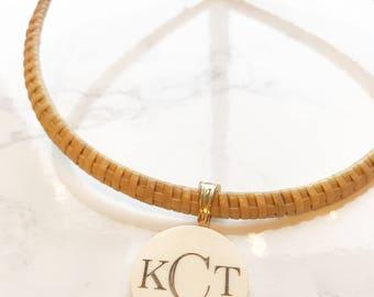 Nantucket Basket Necklace with Monogram Pendant