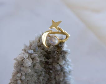 Cosmos, Moon and Stars Ring, Moon Stone