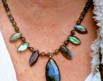Amazing labradorite and Pyrite bib necklace