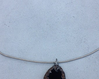 Hand Wrapped Black Onyx Necklace (silver)