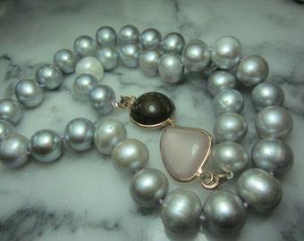 Collier Rosequartz Smoky Quartz Biwa Southsea pearls Tahiti Cabochon Gold Necklace Silver