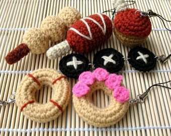 MINIATURE Crochet Pattern-SNACKS-Phone Charm  (00346)