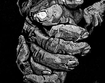 Wood Engraving 'Clasped Hands'