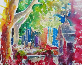 Watercolour painting - Italian courtyard
