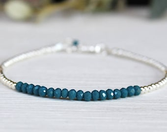Bracelet 925 Silver beads and dark green blue quartz gemstones