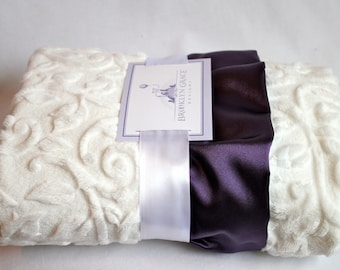Minky Vine Embossed Baby Blanket in White with Purple Satin Trim - Baby Girl, Crib Bedding, Infant and Toddler, Lavender