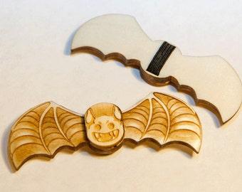 Halloween Small Wooden Bat Bow