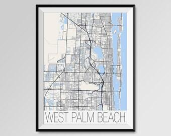 WEST PALM BEACH map art West Palm Beach Florida map Florida