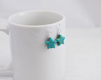 Turquoise Earrings, Star Earrings, Silver Earrings, Blue Earrings, Boho Style, Boho Jewelry, Natural, Southwest Earrings, Gift For Her