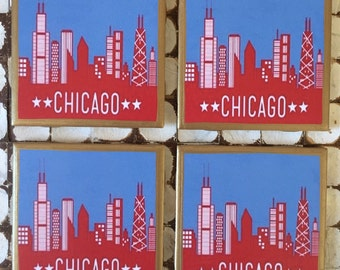 COASTERS! I love Chicago! Chicago skyline coasters with gold trim!