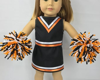 """Doll cheerleading uniform outfit, 18"""" doll clothes, Orange black white, doll costume, doll pom poms, doll skirt"""