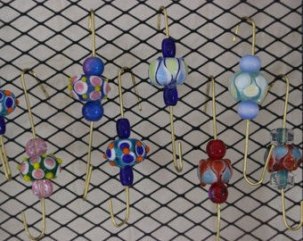 """10158 OOAK Handcrafted """"Boston Sistahs' Jeweled Hooks"""" for Jewelry Holders, Mood Boards, Memory Boards, Hang jewelry,  FREE SHIPPING"""