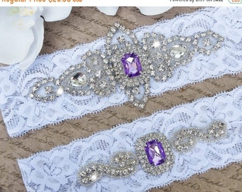 Wedding Garter - Bridal Garter - Ivory and Light Purple Crystal Rhinestone Garter and Toss Garter Set