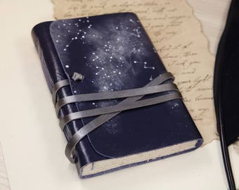 blue leather journal - romantic notebook - diary with vintage style pages - Constellations