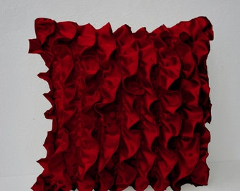 Red Satin Ruffle Pillow Cover, Sofa Pillows, Decorative Throw Pillow Covers, Red Ruffle Couch Pillow Ruffle Throw Pillow 18x18 Cushion Cover