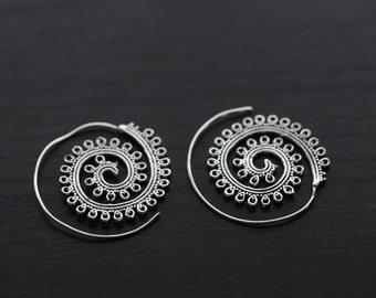 Tribal brass earrings, Brass hoops, Spiral Earrings, Ethnic earrings; Gypsy earrings, Tribal Silver Earrings