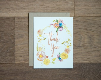 Bohemian flowers thank you card