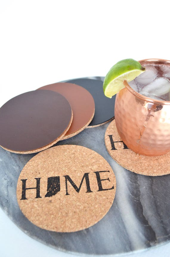 HOME State Cork Coasters - Almost Every US State and CA Province Available. Choose from basic cork or premium coasters backed with leather.