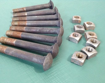 """Vintage Bolts, Industrial Bolts, Carriage Bolts, Nuts and Bolts, Salvaged Hardware - Lot of 8 - 5"""" Bolts with Nuts"""