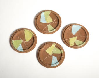 Coaster Set. Mid Century Modern. Set of Coasters. Color Blocking. Art Coasters. Red Clay Coasters. Art Barware.