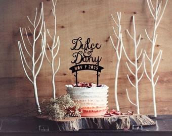 Custom Wedding Cake Topper - Personalised names Forest rustic enchanted woodland wedding