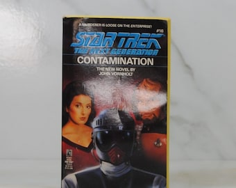 Vintage Paperback Book Star Trek The Next Generation, Contamination, 1991, Pocket Books, John Vornholt, USS Enterprise, Lynn Costa, Emil