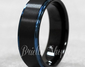Black tungsten ring Etsy