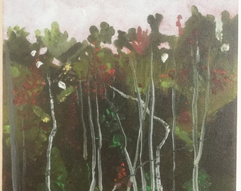 original small oil painting forest