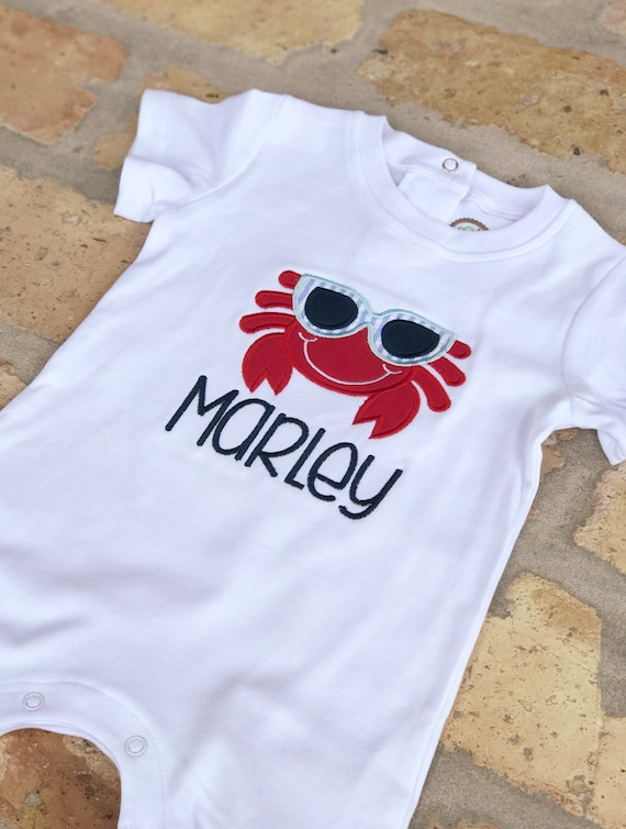 Boys Crab Romper - Add a Name for Free!
