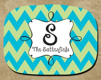 Platter, Personalized, Serving Tray, Chevron Platter, Custom Name Platter, Wedding Gift, Bridal Party, Hostess, Housewarming, Monogram