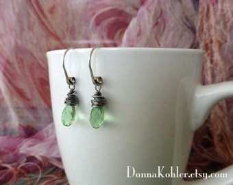 Peridot Swarovski Crystal Drop Earrings Hand Forged Sterling Silver Ear Wires Fine Silver For Wrapping Dangling Earrings by Donna Kohler
